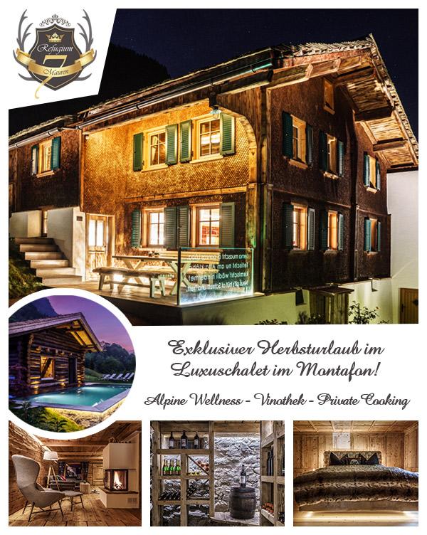 Refugium Mauren 7 - Herbsturlaub Luxuschalet Montafon Vorarlberg